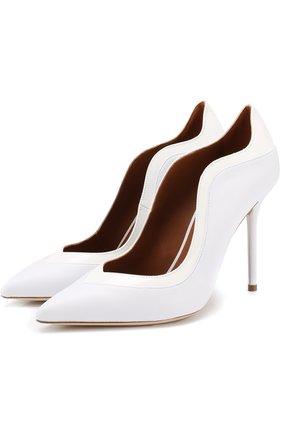Кожаные туфли Penelope на шпильке Malone Souliers белые | Фото №1
