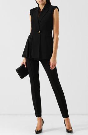 Приталенный шерстяной жилет на одной пуговице Versace черный | Фото №1