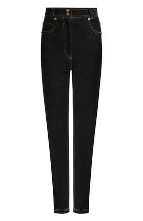 Джинсы с контрастной прострочкой и завышенной талией  Versace черные | Фото №1