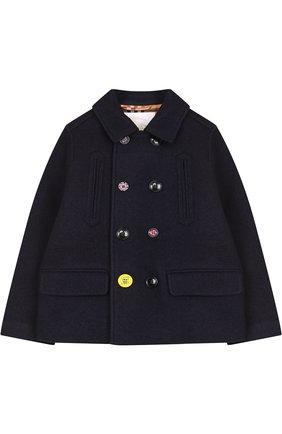 Двубортное шерстяное пальто   Фото №1