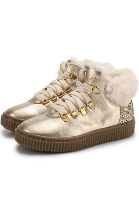 Детские кожаные ботинки с внутренней отделкой из овчины Missouri золотого цвета | Фото №1