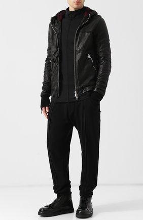 Кожаная куртка на молнии с капюшоном Giorgio Brato черная | Фото №1