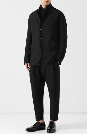Укороченные брюки из шерсти с заниженной линией шага Ziggy Chen черные | Фото №1