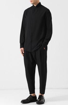 Хлопковая рубашка свободного кроя Ziggy Chen черная | Фото №1