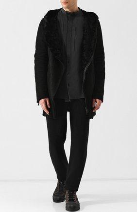 Дубленка прямого кроя на косой молнии с капюшоном Giorgio Brato черная | Фото №1