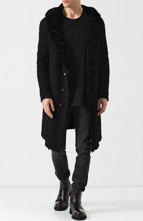 Дубленка прямого кроя на пуговицах с капюшоном Giorgio Brato черная | Фото №1