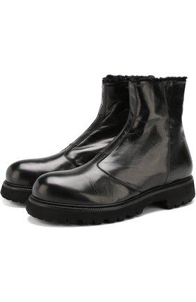 Кожаные ботинки на молнии с внутренней меховой отделкой Rocco P. черные   Фото №1