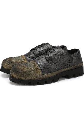 Кожаные дерби на шнуровке с внутренней меховой отделкой Rocco P. черные   Фото №1