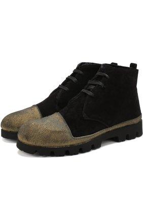 Замшевые ботинки на шнуровке с внутренней меховой отделкой Rocco P. черные   Фото №1