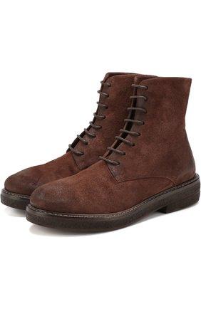 Замшевые ботинки с внутренней отделкой из овчины Marsell темно-коричневые | Фото №1