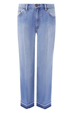 Укороченные джинсы с потертостями Marc Jacobs синие | Фото №1