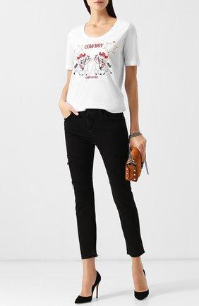 Укороченные джинсы с потертостями Dsquared2 черные | Фото №1