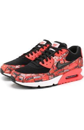 Комбинированные кроссовки Atmos Air Max 90 Print на шнуровке с декоративной отделкой NikeLab разноцветные   Фото №1