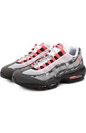 Комбинированные кроссовки на шнуровке с декоративной отделкой NikeLab разноцветные   Фото №1