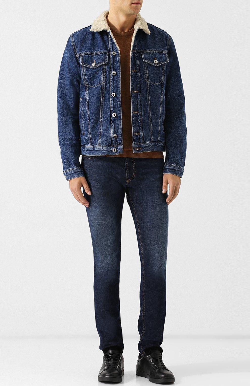 Джинсовая куртка на пуговицах Diesel синяя | Фото №2