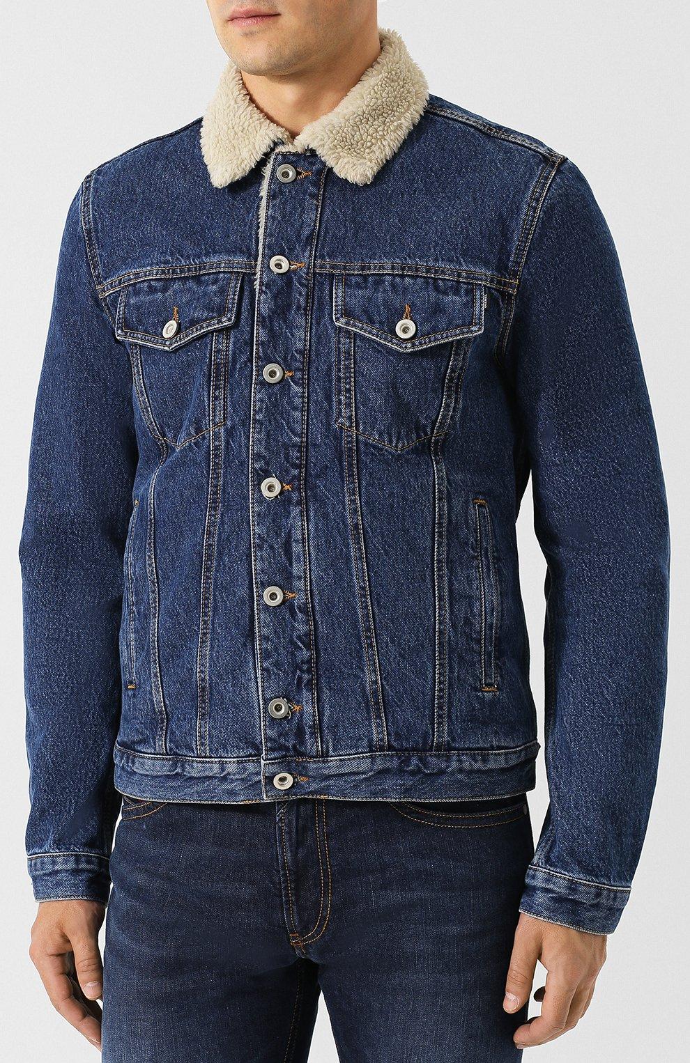 Джинсовая куртка на пуговицах Diesel синяя | Фото №3