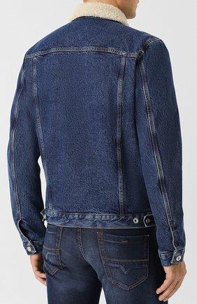 Джинсовая куртка на пуговицах Diesel синяя | Фото №4