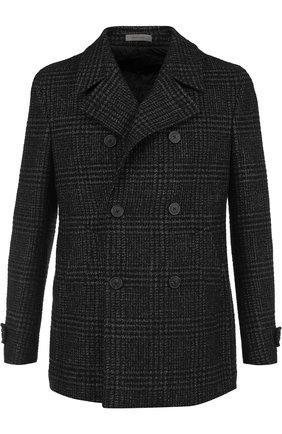 Укороченное двубортное пальто из смеси шерсти и шелка   Фото №1