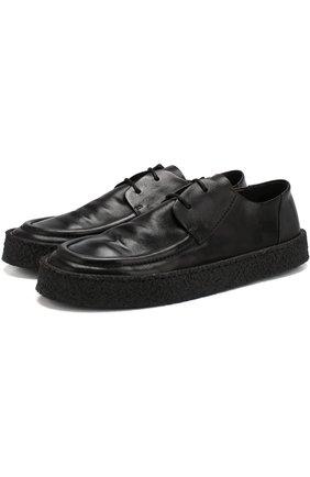 Кожаные дерби на шнуровке Marsell черные | Фото №1