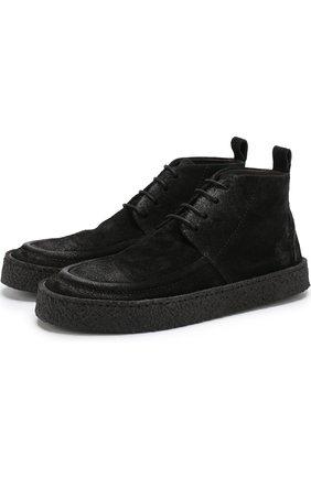 Замшевые ботинки на шнуровке Marsell черные | Фото №1