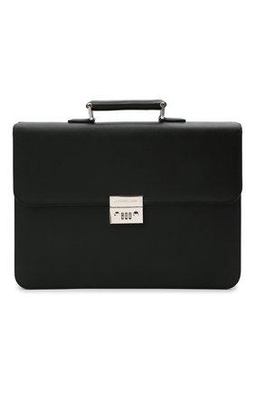 Мужской кожаный портфель CORNELIANI черного цвета, арт. 00TD15-0021812/00 | Фото 1 (Материал: Натуральная кожа)
