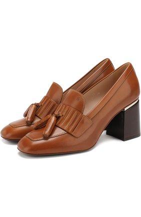 Кожаные туфли с кисточками на устойчивом каблуке Tod's коричневые   Фото №1