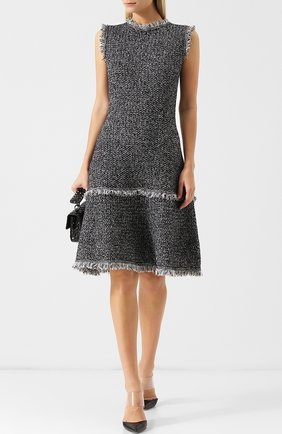 Вязаное шерстяное платье с круглым вырезом и бахромой Oscar de la Renta черно-белое | Фото №1