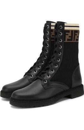 Кожаные ботинки с текстильной вставкой | Фото №1