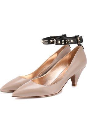 Кожаные туфли Valentino Garavani Precious на каблуке kitten heel | Фото №1