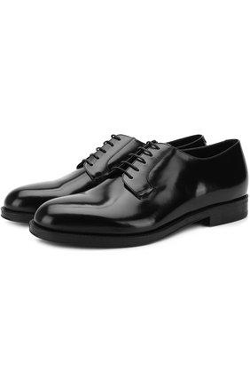 Мужские кожаные дерби на шнуровке GIORGIO ARMANI черного цвета, арт. X2C594/XF294 | Фото 1