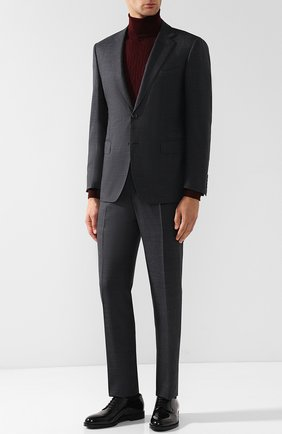 Мужские кожаные дерби на шнуровке GIORGIO ARMANI черного цвета, арт. X2C594/XF294 | Фото 2