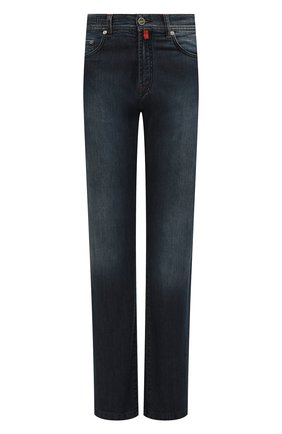 Мужские джинсы прямого кроя с потертостями KITON темно-синего цвета, арт. UPNJS1/J02R54 | Фото 1
