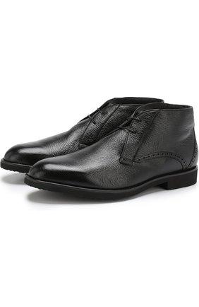 Кожаные ботинки на шнуровке с внутренней меховой отделкой Moreschi черные | Фото №1
