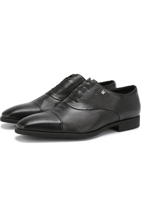 Кожаные оксфорды на шнуровке Moreschi черные | Фото №1