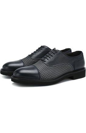 Кожаные оксфорды на шнуровке Moreschi темно-синие | Фото №1