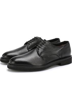 Кожаные дерби на шнуровке с внутренней меховой отделкой Moreschi черные | Фото №1