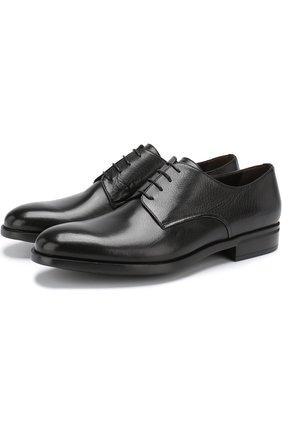 Кожаные дерби на шнуровке Moreschi черные | Фото №1