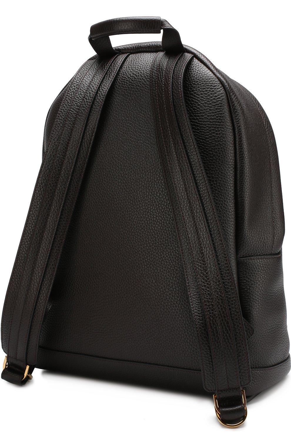Мужской кожаный рюкзак TOM FORD темно-коричневого цвета, арт. H0250T-CG8 | Фото 3 (Материал: Натуральная кожа; Ремень/цепочка: На ремешке; Статус проверки: Проверено, Проверена категория)
