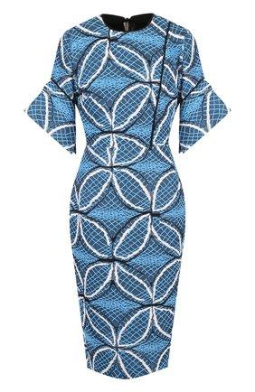 Приталенное платье из смеси хлопка и шелка с декоративной вышивкой Roland Mouret голубое | Фото №1