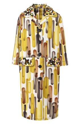 Хлопковое пальто с принтом и укороченным рукавом Bottega Veneta разноцветного цвета | Фото №1