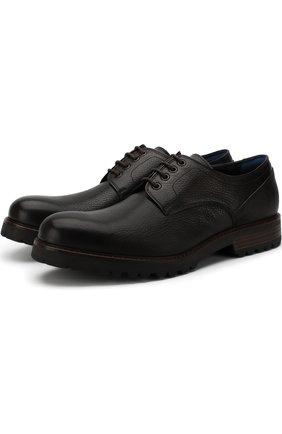 Кожаные дерби на шнуровке A. Testoni темно-коричневые | Фото №1