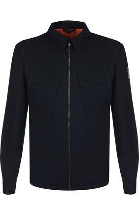 Шерстяная куртка на молнии с отложным воротником Belstaff темно-синяя | Фото №1