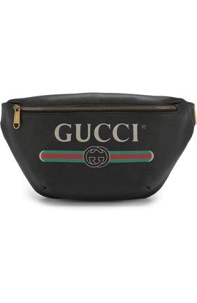 Кожаная поясная сумка Gucci Print | Фото №1