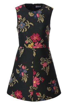 Приталенное мини-платье с принтом REDVALENTINO черное | Фото №1