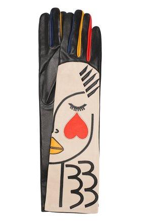 Удлиненные кожаные перчатки с аппликацией Agnelle разноцветные | Фото №1