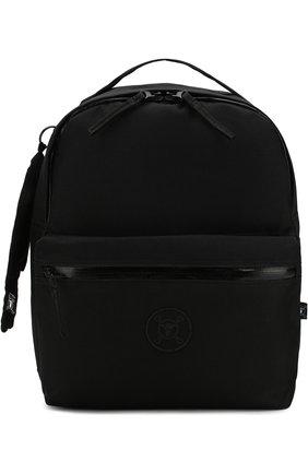 Текстильный рюкзак с внешним карманом на молнии NUNUNU черного цвета   Фото №1