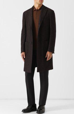 Однобортное пальто из смеси кашемира и шелка Pal Zileri коричневого цвета | Фото №1