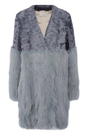 Меховое пальто с V-образным вырезом Mate Official серого цвета | Фото №1