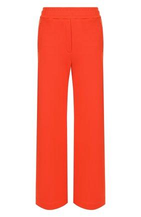 Однотонные расклешенные брюки из смеси хлопка и вискозы By Malene Birger коралловые   Фото №1
