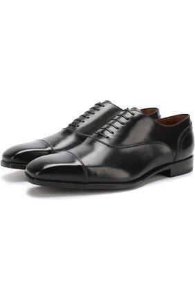 Мужские кожаные оксфорды на шнуровке ZEGNA COUTURE черного цвета, арт. A3085X-EVE   Фото 1